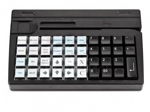Программируемая клавиатура Posiflex KB-4000U-B черная c ридером магнитных карт на 1-3 дорожки, USB (22720)